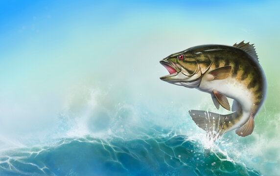 Bass fish jumps out of water realistic illustration. Smallmouth bass perch fishing in the usa on a river or lake. Horizontal background mobile version of the sea wave sunny day place for text.