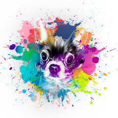 Dog's head illustration on white background with colorful creative elements