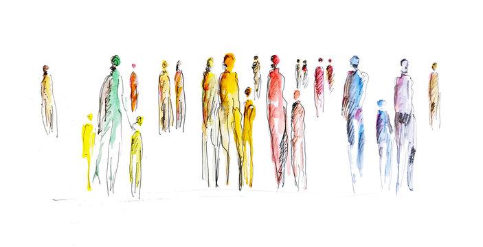 Menschen in Gemeinschaft - abstrakte Silhouette von Personen in der Gesellschaft, zusammen stark sein, Zusammenhalt, Toleranz, Inklusion, Vielfalt und Gruppierungen, Nationalitäten