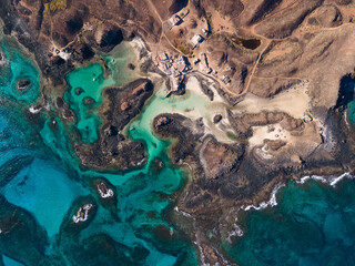 Lobos island overhead aerial shot - Canary Islands