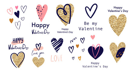 Fototapete - Vector collection with hearts. Happy Valntine's Day symbols