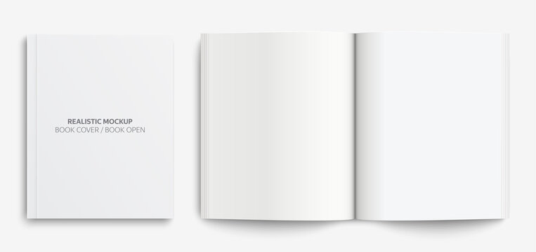 Blank book cover mockup. Realistic mockups book: Blank cover book and blank open book with shadows isolated on light background. Vector illustration EPS10