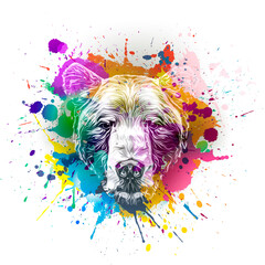 grunge background with graffiti and painted bear