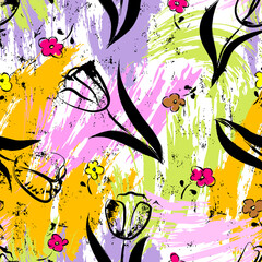 floral seamless background pattern, with paint strokes and splashes