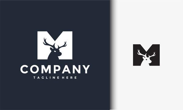 initials M deer logo