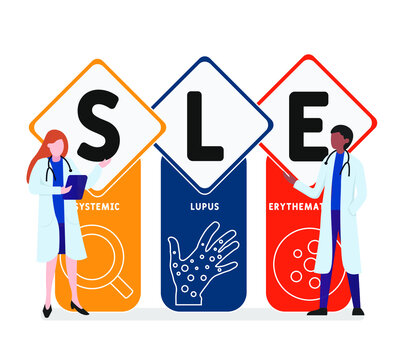 Flat design with people. SLE - systemic lupus erythematosus  acronym, medical concept background.   Vector illustration for website banner, marketing materials, business presentation, online
