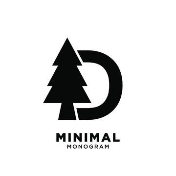 Letter d pine tree initial logo design
