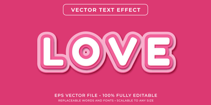 Editable text effect in pink paper cut style