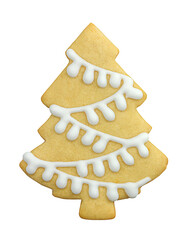 Christmas tree shaped cookies. Homemade Cookies isolated on white background