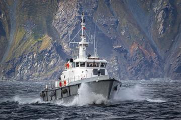 Antarctica - December 05, 2016. Chilean coast guard ship. Near Cape Horn.