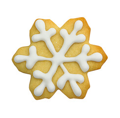 Snowflaker shaped cookies. Homemade Christmas cookies isolated on white background