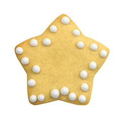 Star shaped cookies. Homemade Christmas cookies isolated on white background