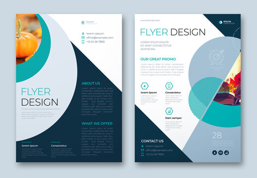 Flyer Layout with Teal Geometric Accents