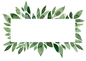 Watercolor green leaves border. Foliage frame. Wedding card template Wall mural