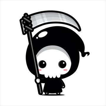 cute grim reaper character vector design