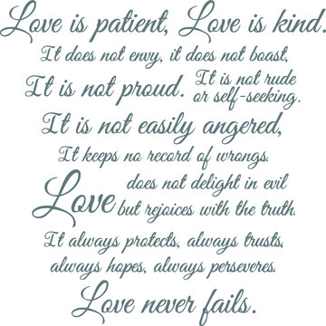 love is patient love is kind logo sign inspirational quotes and motivational typography art lettering composition design