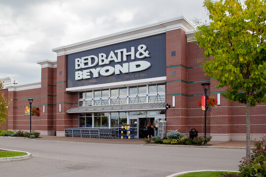Buffalo, New York, USA -September 2, 2019: A Bed Bath & Beyond store in Buffalo, USA, an American chain of retail store sell goods primarily for the bedroom and bathroom, kitchen and dining room.