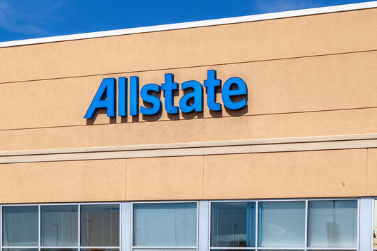 St. Catharines, Ontario,  Canada - September 19, 2019: Allstate sign on the building in St. Catharines, Canada. The Allstate Corporation is an American insurance