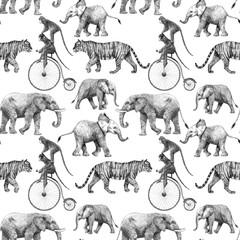 Beau modèle sans couture de stock de vecteur avec des illustrations de crayon rhinoanimal de singe de singe de tigre d& 39 éléphant de girafe de safari dessinés à la main mignons.