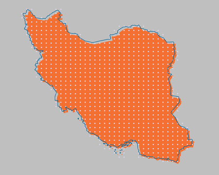 Vector map Iran made dots country template