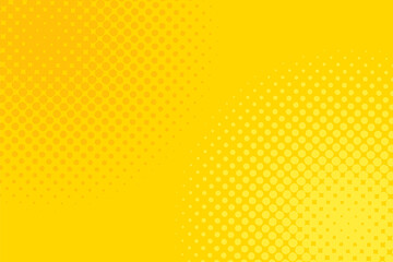 Gradient halftone dots background. Pop art template, texture. Yellow and orange. Vector illustration