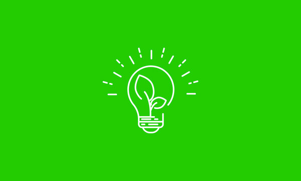 Plant inside Light Bulb line icon.black icon on green background