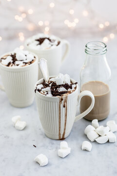 Hot chocolate with Baileys and marshmallows