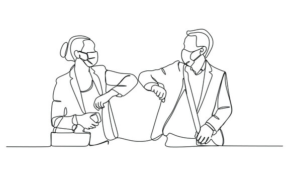 Two people male and female elbow bumping to prevent virus infection. Continuous one line drawing