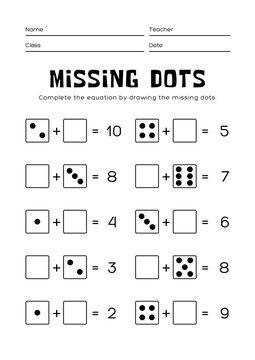 Baby Students Math Drawing dots worksheet in english