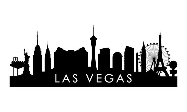 Las Vegas skyline silhouette. Black Las Vegas city design isolated on white background.