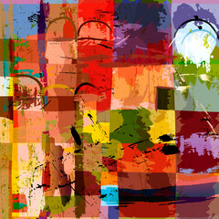 abstract geometric background composition, with paint strokes, splashes and squares
