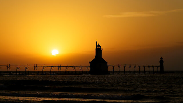St. Joseph Michigan lighthouse at sunset