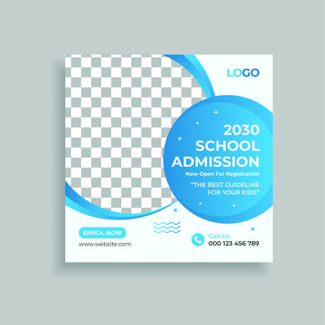 School Admission Promotion Social Media Post Template Design. Students admission social media post banner template. education advertisement