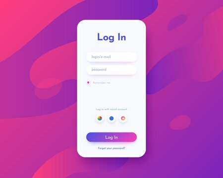 Log in screen. Mobile application interface, registration form with login and password fields. Website UI with buttons and network account sign. Vector web page mockup for smartphone