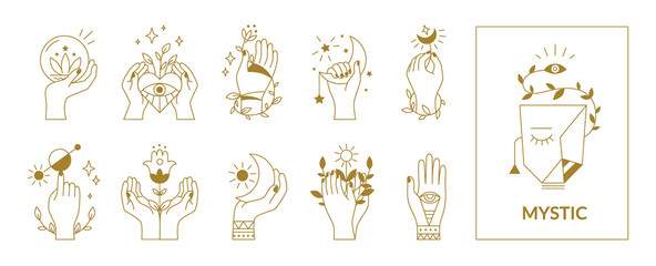 Obraz Hands mystical symbols. Boho occult outline signs with floral and astrological decorative elements. Female arms, crescent or sun, eyes and plants. Esoteric contour emblems, vector set - fototapety do salonu