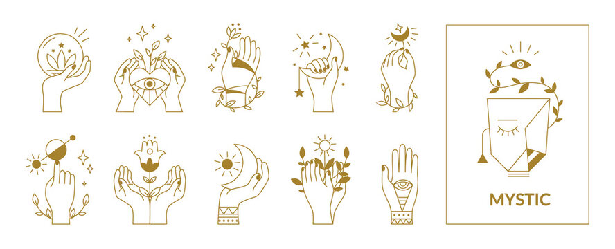 Hands mystical symbols. Boho occult outline signs with floral and astrological decorative elements. Female arms, crescent or sun, eyes and plants. Esoteric contour emblems, vector set