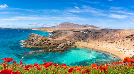 Wall Mural - Landscape with Papagayo beach, Lanzarote, Canary Islands, Spain
