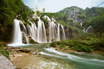 Wall Mural - One of the most beautiful waterfall of Plitvice lakes national park in Croatia