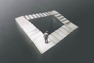 Illustration of man rising Penrose stairs, surreal concept