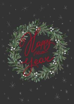 happy new year greeting card (с новым годом на черном)