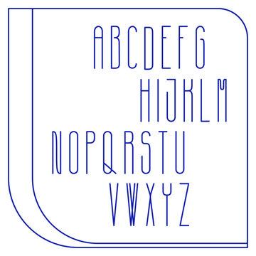 Graphically plane polish alphabet. Simple elegant font isolated on white background. Vector illustration with editable elements.