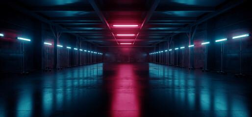 Cyber Neon Purple Blue Red Sci Fi Futuristic Grunge Hangar Retro Warehouse Underground Parking Steel Concrete Cement Tunnel Corridor Industrial Background 3D Rendering