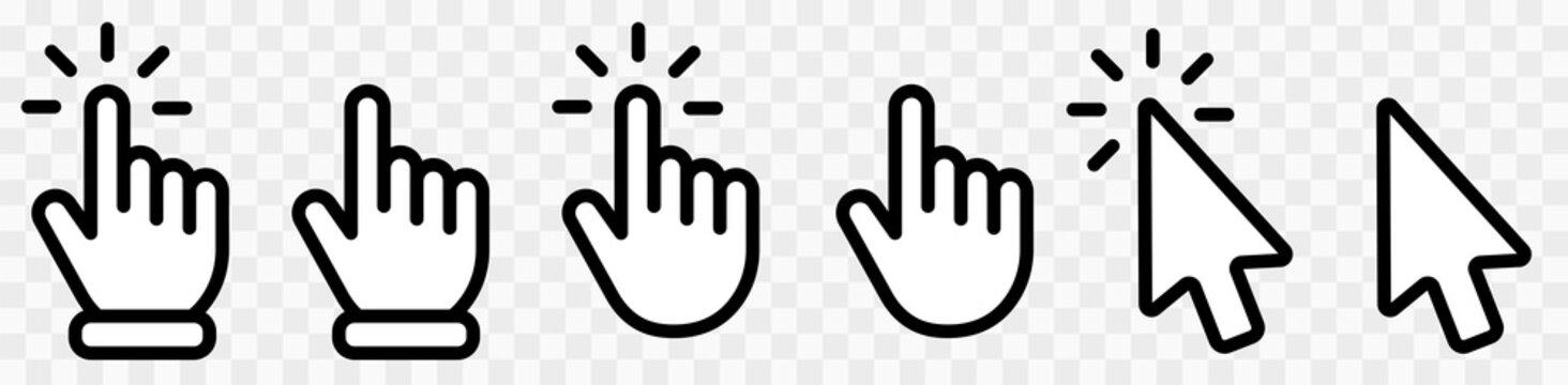Computer mouse click cursor gray arrow icons set and loading icons. Cursor icon.Hand clicking icon collection.Pointer click icon. Mouse click cursor collection. Vector illustration.