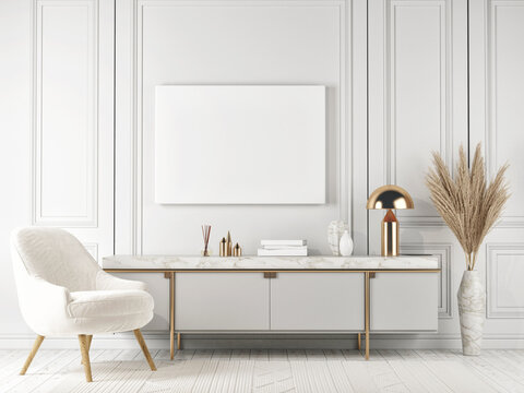 Mockup poster, white interior elegance style, sideboard with home decoration, 3d render, 3d illustration