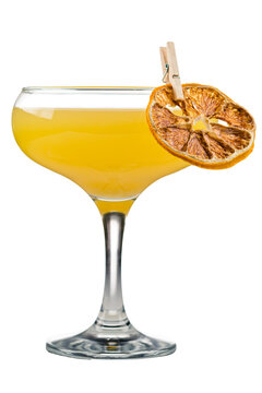 Bee's Knees, Forbidden Era drink with gin, lemon juice and honey, classic yellow gin cocktail with orange zest isolated on a white background