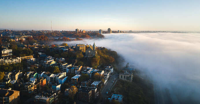 Foggy morning at Cincinnati, Ohio, USA skyline aerial view