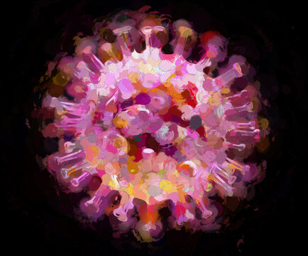 Digital Illustration Coronavirus Pandemic Purple