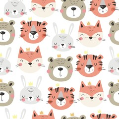 Cute cartoon animals face - fox,bunny, bear, tiger. Hand drawn animals seamless pattern for baby