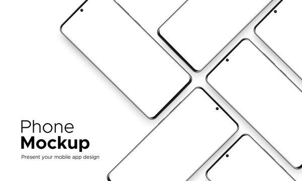 Modern Frameless Smartphone Mockup for Mobile App Design, Isolated on White Background. Vector Illustration