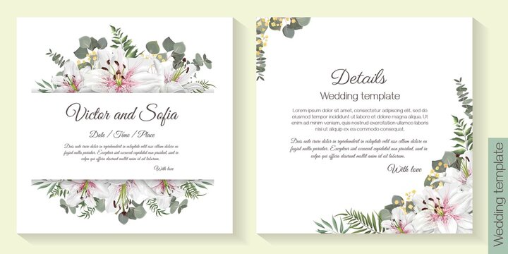 Floral design for wedding invitation. Vector template for your text. White king lilies, green plants and leaves.